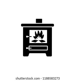 Black & white vector illustration of wood stove. Flat icon of modern furnace. Heating appliance for home. Isolated object on white background