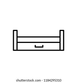 Black & white vector illustration of wooden pull-out sleeper. Line icon of sofa with bed. Modern home & office furniture. Isolated object on white background