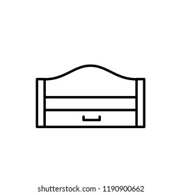 Black & white vector illustration of wooden pull-out sleeper. Modern sofa with bed. Line icon of settee with headboard. Isolated object on white background