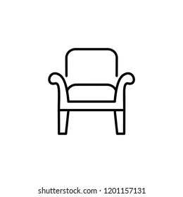 Black & white vector illustration of wooden armchair with high back. Line icon of arm chair seat. Upholstery furniture for living room & bedroom. Isolated object on white background