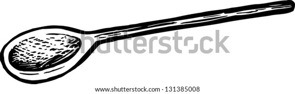 Black and white vector illustration of wooden cooking spoon