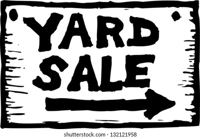 Black and white vector illustration of yard sale sign