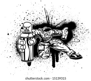 black and white vector illustration of a zombie kid spraying graffiti everywhere he possibly can.