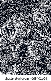 Black and white vector illustration.Hand drawn sea reef. Sketch for coloring book pages. Back ground with seabed.