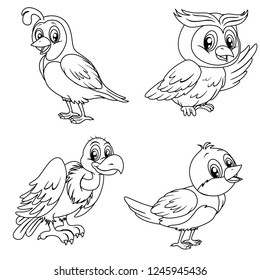 Black and White Vector Illustrations of Happy Quail, Owl, Vulture and Nightingale. Cute Cartoon Birds Isolated on a White Background Coloring Page. Happy Birds and Animals Coloring Book for Children