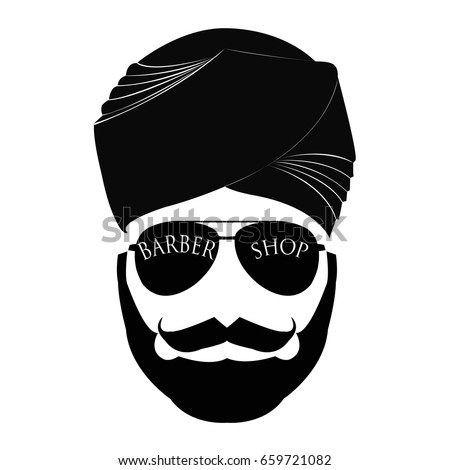 Men s head hipster mustache with a beard on a round background with the  inscription turban Arabic style - Vector b30e90623bc