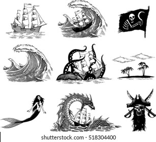 Black and white  vector images based on sea legends and stories