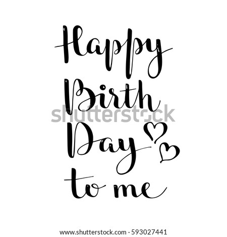 Black White Vector Lettering Happy Birthday Stock Vector Royalty