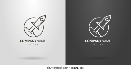 Black and white vector line art logo of flying rocket