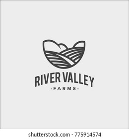 Black and white vector logo of River Valley Farm's