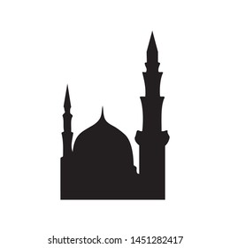 Black and White Vector Mawlid al-Nabi Islamic greeting banner background with mosque illustration
