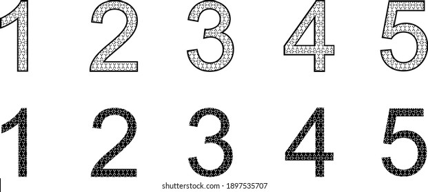 Black and white vector of numbers with molecules inside