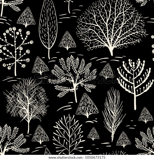 Black White Vector Pattern Hand Drawn Stock Vector Royalty Free 1050673175