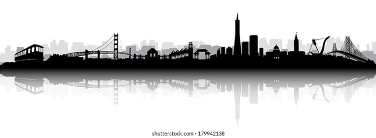 Black and White Vector of the San Francisco on with reflection