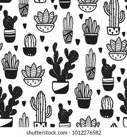 Black and white vector seamless cactus pattern