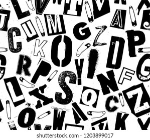 Black and white vector seamless pattern of punk rock typography composition with safety pins on white background.