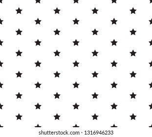 Black and white vector seamless pattern with stars