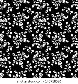 Black and white vector seamless pattern, abstract floral ornament