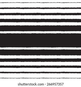 Black and white vector seamless pattern. Black stripes of different width on white backdrop. Brush drawn - rough, artistic edges. Striped monochrome background with space for text.