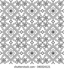 Black and white vector seamless pattern background. For coloring pages, decoration, page fill and more.