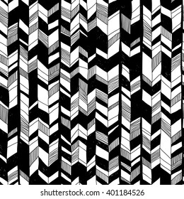 black and white vector seamless pattern with doodle elements. abstract geometric art print. hand drawn