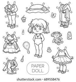 Coloring Book Children Doll Stock Vector Royalty Free 1037394697