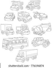 Black and white vector set of toy cars, trucks and buses
