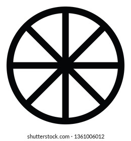 A black and white vector silhouette of a cart wheel