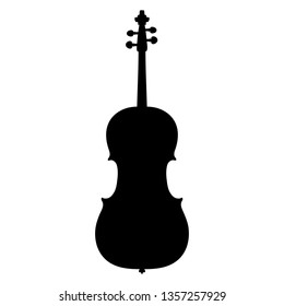 A black and white vector silhouette of a cello