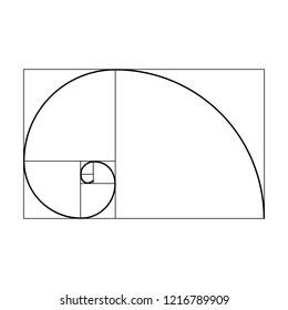 A black and white vector silhouette of the Fibonacci sequence