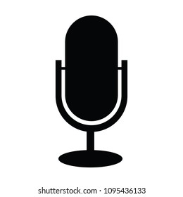 A black and white vector silhouette of a microphone