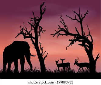 Black and white vector silhouettes of beautiful African scenery with dead trees and an elephant and impala
