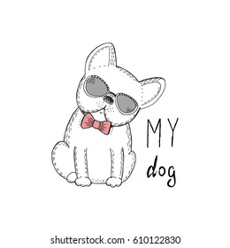 Black and white vector sketch of a dog. Vector Illustration.