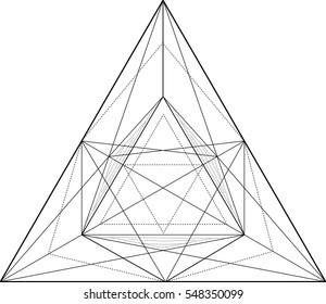 Black and white vector sketch of a tattoo fire triangle, square, polygon, point and seamless pattern. Vector image on white background.
