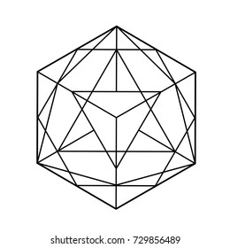 Black and white vector sketch of a tattoo set geometric shape, triangle, polygonal. Line art, line shape, tattoo design, vector illustration.