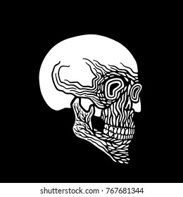 Black and white vector skull in abstract style