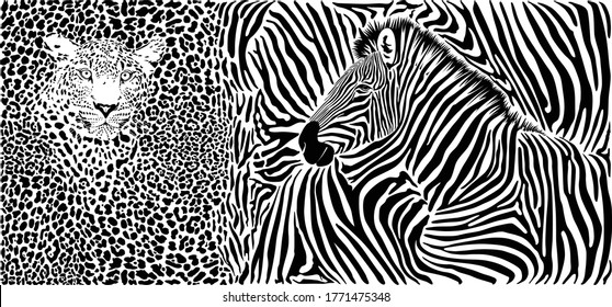 Black and white vector template with a motif of African wild animals, leopard and zebras