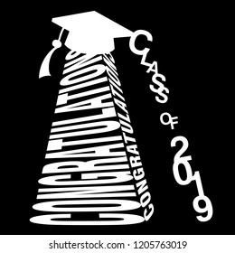 Black and white vector typography illustration of Congratulations and Class of 2019 in a pyramid style on an isolated background