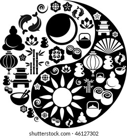 Black and white vector Yin-Yang with collection of Zen and oriental icons