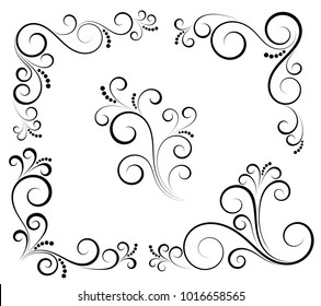 Black and white vectore curl florish vignette