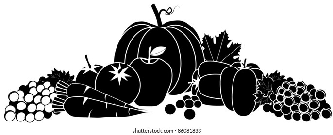 Black and white vegetable border Autumn vegetables and fruits arranged horizontally. EPS 8 vector, grouped for easy editing. Vegetables can be separated.