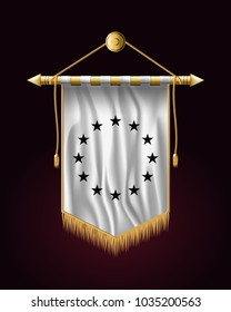 Black and White Version European Union Flag. Festive Vertical Banner. Wall Hangings with Gold Tassel Fringing