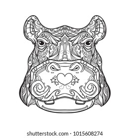 Black and white version of ornament hippo face in line art style, vector illustration isolated on white background