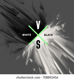 Black and white versus abstract background. Opposition of white and black energy, the collision of good and evil, light and dark, vector illustration.
