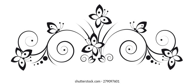 Black and white vignette in a graphic style with butterflies and scrolls