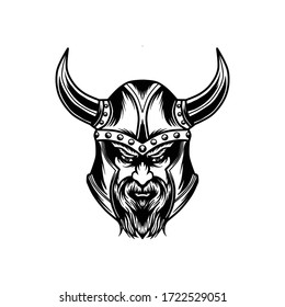 Black and white viking head illustration isolated in white background.