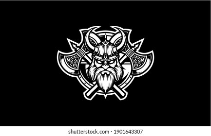 Black and white viking head with shield and axe vector emblem