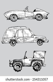 black and white vintage car vector set