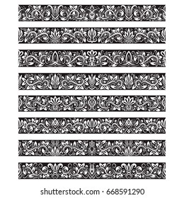 Black white vintage elements for vector brushes creating. Borders templates kit for frames design and page decorations.