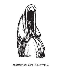 Black and white vintage etched art. Ink drawn ghotic religion plot on gravestone in cemetry. Clipart for sticker, tattoo, print. Praying spooky ghost in cloak with hood sits in sufferings and sorrows.